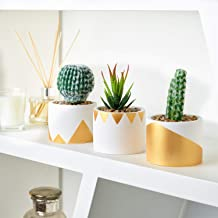 Large Artificial Succulent Plants Gift Set, Modern Gold and White Geometric Design Cement Pots, Set of 3 Assorted Cactus, Decorative Home Décor Gift, Unique Packaging, Plants Included