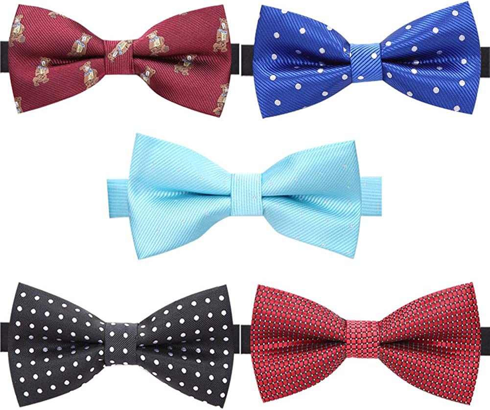 AUSKY 8 PACKS Elegant Adjustable Pre-tied bow ties for Men Boys in Different Colors(1&4&5&6&8Pack for option)