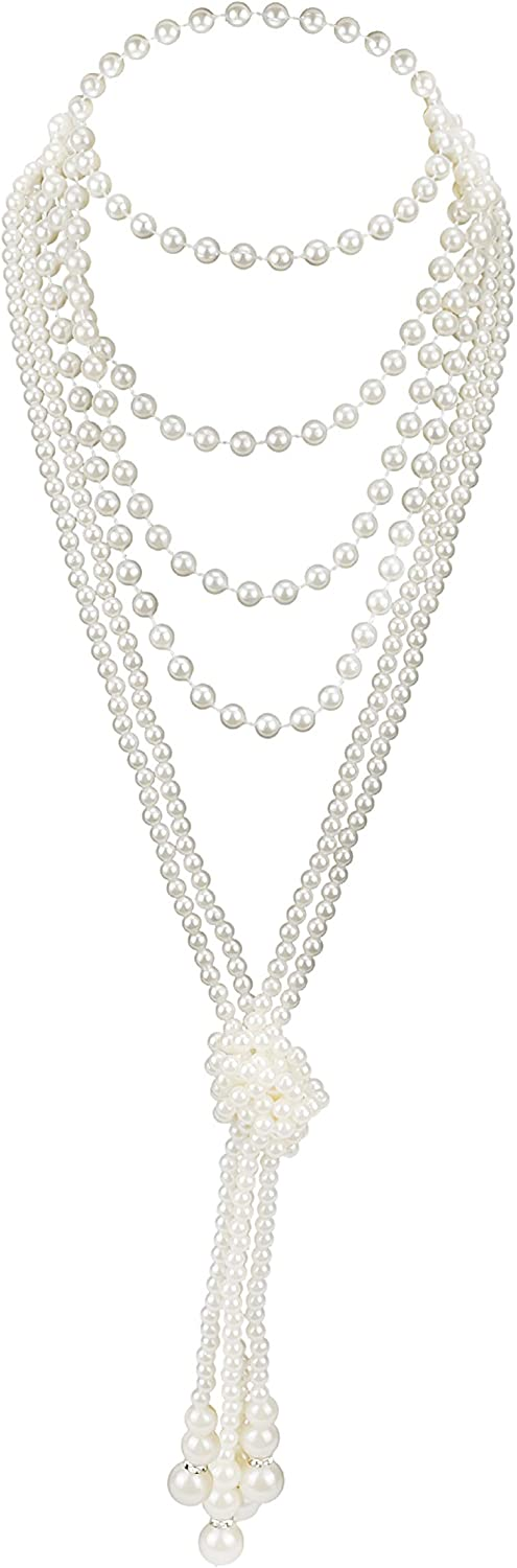 Zivyes Vintage Pearl Necklace Faux Pearl Necklace Flapper Beads Cluster Long Necklace for Gatsby 1920s Accessories for Women