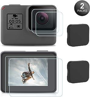 Maexus 【2セット】GoPro Hero 7 Black/ 6 / 5 /Gopro2018 用 強化ガラス 液晶保護フィルム 強化ガラスフィルム 9H高硬度 超薄0.3mm 耐衝撃 防汚 防水 レンズ保護+液晶保護+レンズカバーセット