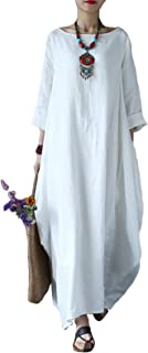 Autumn Solid Loose Long Maxi Dress Cotton Caftan