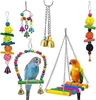 Nrpfell 6-pack fågelgungleksaker – papegoja hängmatta klocka leksaker för undulag, parakiter, nymfparakiner, konurer och k...