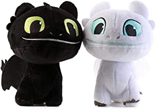 Moovi 2 PCS / Set How to Train Your Dragon 3 Toothless Light & Night Fury Soft Toy Features 7'' (16cm) Plush for Children