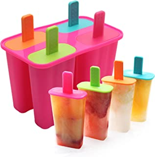 Silicone Popsicle Molds Set - BPA Free - 4 Ice Pop Molds for Homemade Popsicle, Dishwasher Safe