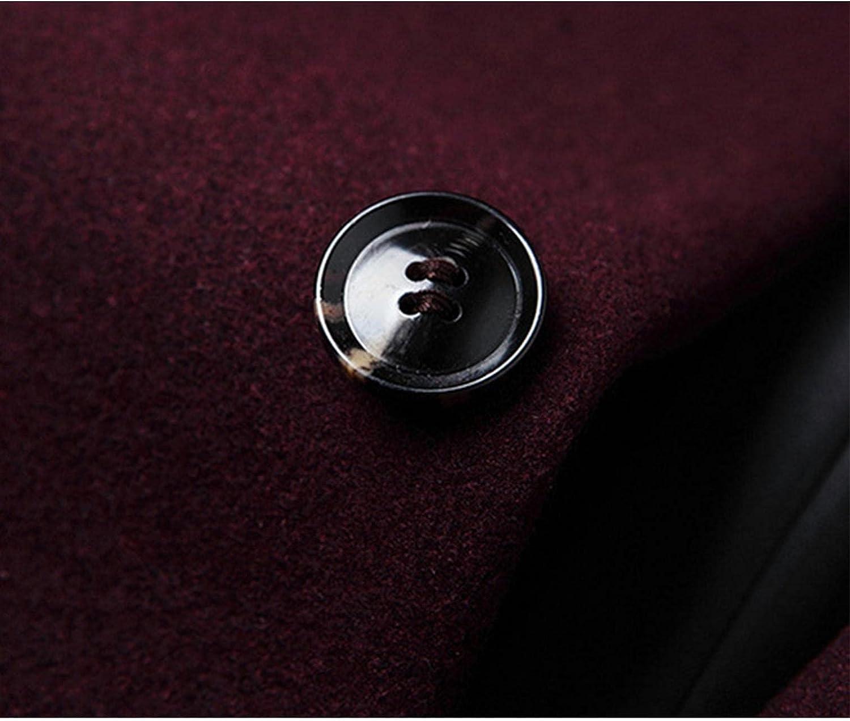 Huangse Men's Notch Lapel Single Breasted Long Trench Coat Casual Cotton Blend Windbreaker Peacoat