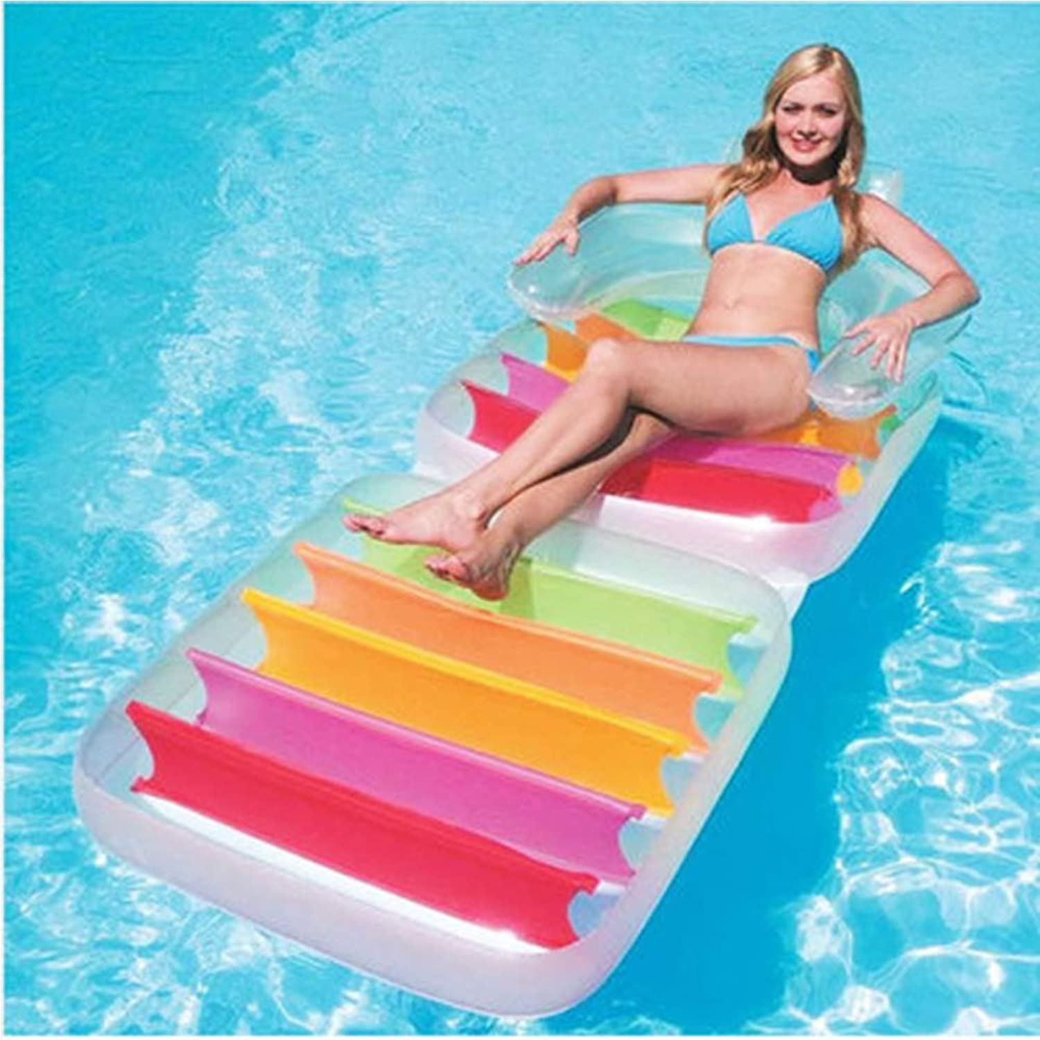 Xihongshi Inflatable color Wave Floating Bed On Water, Foldable Backrest Recliner, Water Inflatable Adult Swim Ring