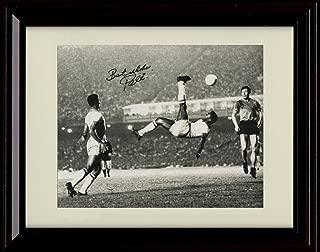 Framed Pele Autograph Replica Print - Pele Flips Over Soccer! - Bicycle Kick