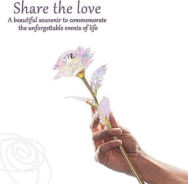 Rose Plaqué 24K Or, Fête des Mères Saint Valentin Anniversaire, Romantique Rose Eternelle avec Boîte-Cadeau, Anniversaire de