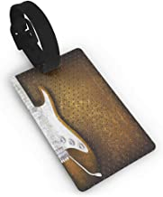 Leather luggage tag,Rock Music,Abstract Dotted Background Electric Guitar Musical Instrument Design Rock,Women's The Getaway Luggage Tag White Caramel