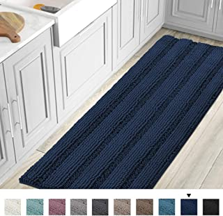 Striped Luxury Chenille Bathroom Rug Mat Runner Oversized 59x20 Inch Extra Soft and Absorbent Shaggy Rugs Dry Extra Long Plush Carpet for Bathroom/Kitchen Machine Washable, Navy