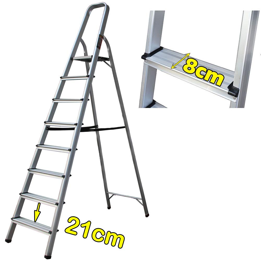 Escalera de aluminio de 8 peldaños antideslizante, plegable ...