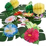Pangda 32 Stücke Simulation Hibiskus Tropische Blätter für hawaiianische Luau Dschungel Party Dekoration - 7