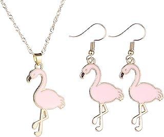 PPX Bellissima collana e orecchini pendenti con fenicotteri rosa per donne, bambini e ragazze per mamma, moglie o fidanzata