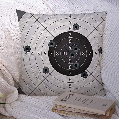 Throw Pillow Covers Gun Bullets Holes On Circular Paper Abstract Wall Sports Through Recreation Miscellaneous Element Polyester Decorative Square Cushion Cases for Couch Bed Home Decor 18x18 Inch