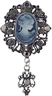 Lux Accessories Antique Vintage Blue Cameo Brooch Burnished Silver Paver Stones