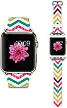Apple Watch Strap Apple Watch Band 42mm Genuine Leather Strap Wristband With Free Adapters for Apple Watch/ Sport/ Edition 42mm-Colorful Chevron pattern