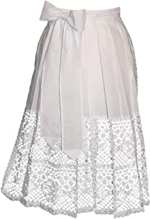 German Long White Lace Apron for Dirndl