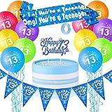 Set de Decoraciones de 13 Cumpleaños, Incluye Globos de Cumpleaños para Adolescentes de 12 Pulgadas Globos de Látex de 13 Cumpleaños, Banderines de Feliz Cumpleaños 13, Topper y Fajín de Cumpleaños 13