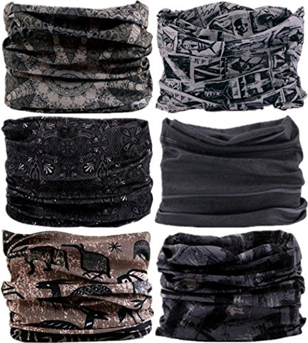 VANCROWN Neck Gaiter Headband Headwear Head Wrap Face Mask Magic Scarf Bandana for Men and Women (6PCS.Gray)