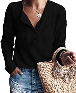 Women's Casual Waffle Knit Tunic Tops Long Sleeve Button Up V Neck Henley Shirts