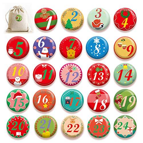 HOWAF 24 Adventskalender Buttons zum Weihnachten Geschenktüten Box Dekoration, 1 bis 24 Zahlen Buttons Adventskalender Abzeichen mit Anstecknadel für DIY Basteln Adventskalender Zubehör