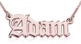 925 Sterling Silver Personalized Old English Name Necklace Custom Nameplate