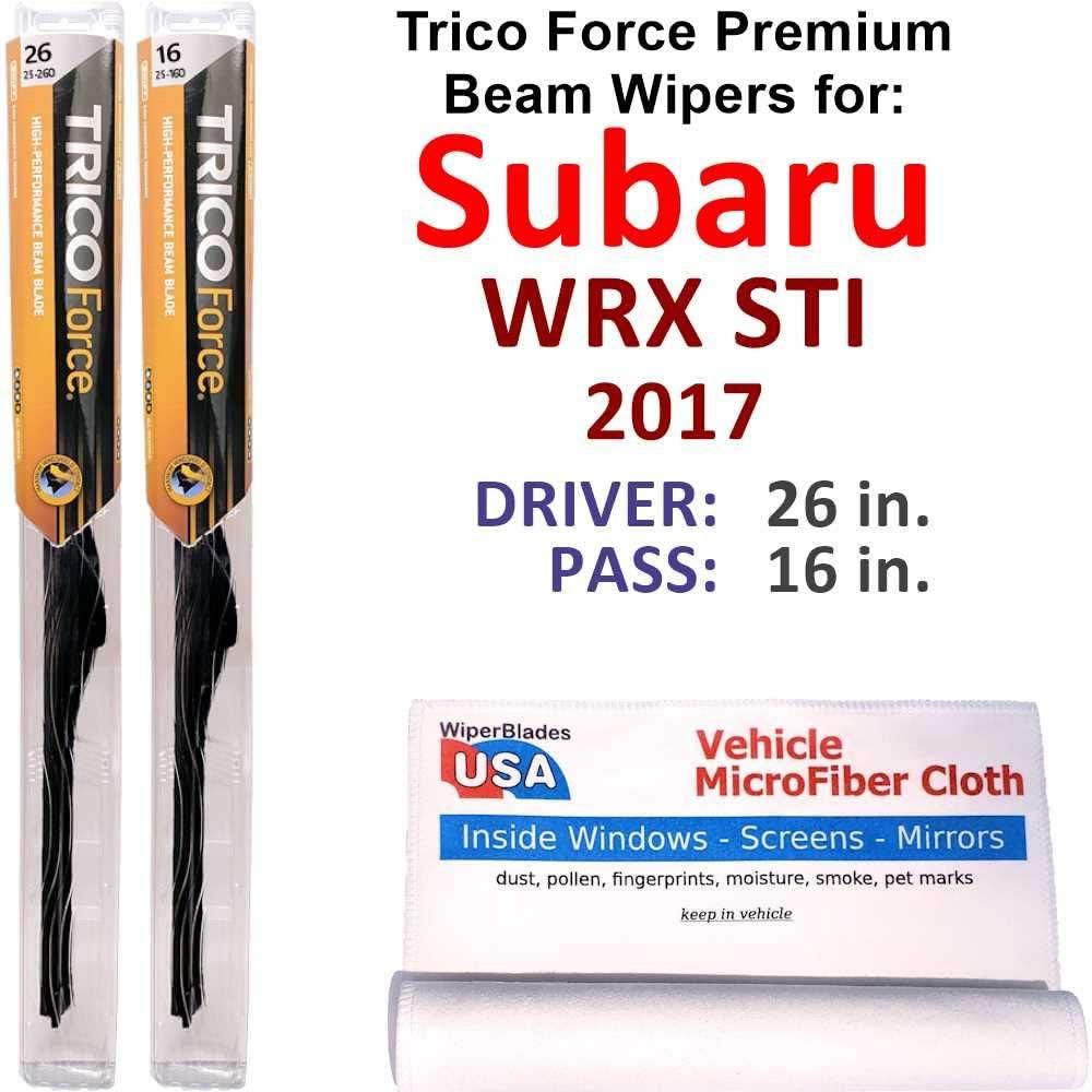 Premium Beam Wiper Blades 買い物 for 2017 Forc WRX 海外並行輸入正規品 Subaru Trico Set STI