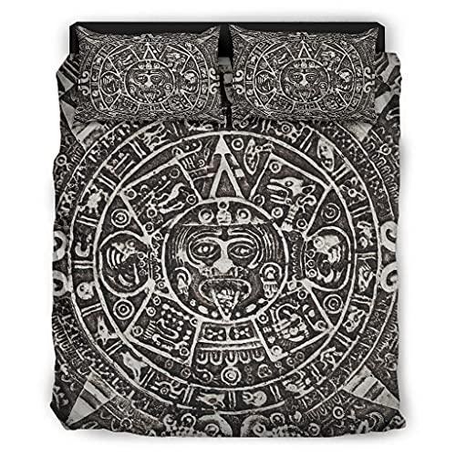 Viiry Juego de cama de 4 piezas antiguo Inca maya elegante impreso - juegos de cama blanco 175X218cm