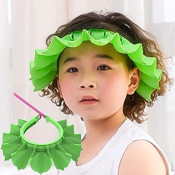 Baby Silicone Shower Cap Bathing Hat, Adjustable Shower Cap Kids, Infants Soft Protection Funny Safety Visor Cap for Toddler Children (Green)