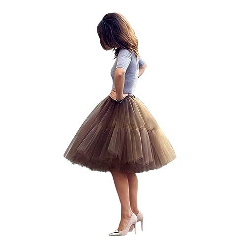 9d30ae0eba Babyonline Lady's Princess Tutu Tulle Midi Knee Length Skirt Underskirt
