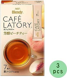 Cafe Latory Rich Peach Tea 7Sticks (1.6oz)× 3pcs Japanese Instant Tea AGF Ninjapo
