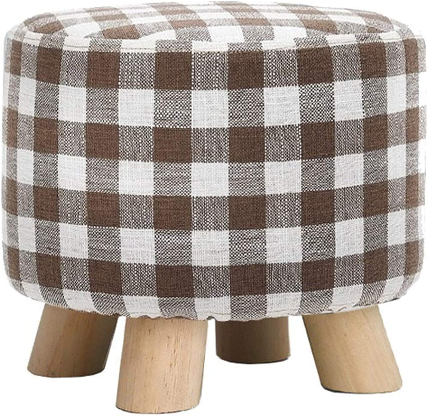 Household Solid Wood Cotton Linen Makeup Stool Durable Footstool Round Lattice Chair Change shoes Small Bench Kitchen Footstool Footstool