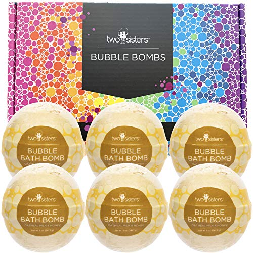 6 Oatmeal Milk & Honey Bubble Bath Bombs by Two Sisters Spa. 6-5oz Large 99% Natural Fizzies for Women, Teens and Kids. Moisturizes Dry Sensitive Skin. Releases Color, Scent, and Bubbles.