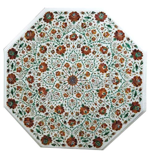 Gifts And Artefacts 48 Inches Octagon White Garden Table Top Marble Dinning Table Top Semi Precious Stones Inlaid