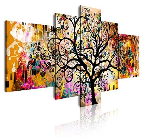 DekoArte 429 - Cuadros Modernos Impresión de Imagen Artística Digitalizada | Lienzo Decorativo para Salón o Dormitorio | Estilo Abstracto Arte Árbol de la Vida de Gustav Klimt | 5 Piezas 180x85cm XXL
