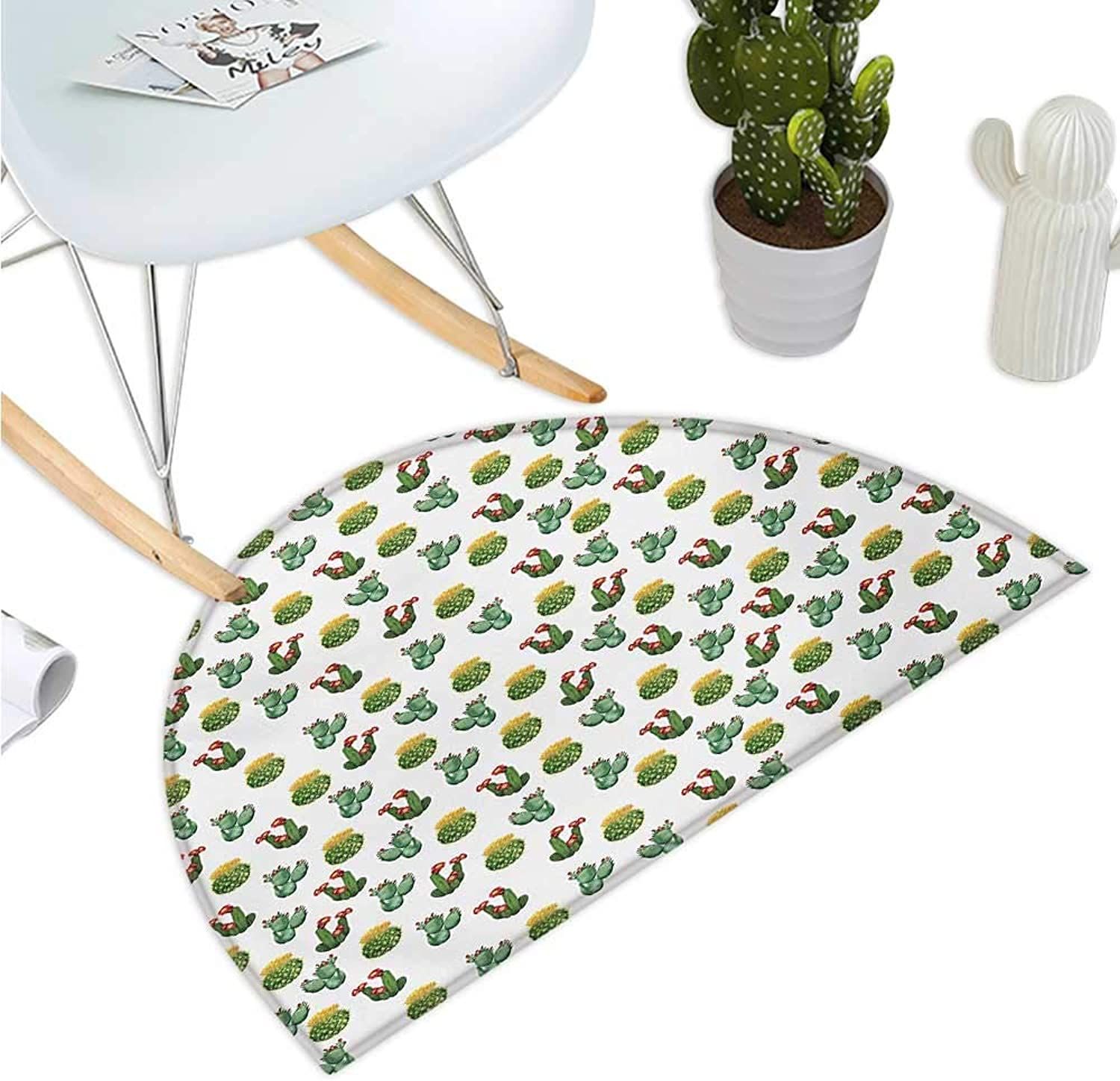 Plants Semicircle Doormat Floral Theme Watercolor Style Effect Illustration of Cactus and Suculent Prints Entry Door Mat H 39.3  xD 59  Green Yellow