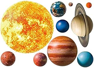 Planet Wall Decals, Wallpaper Decorations Removable Solar System Watercolor Space Wall Stickers for Home Livingroom Decor ...
