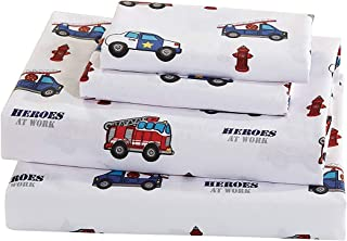 Elegant Home Multicolors Heroes First Responders Police Cars & Fire Trucks Design Fun Printed Sheet Set with Pillowcases F...