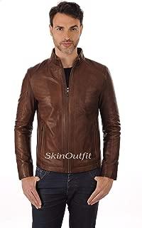 SKINOUTFIT Mens Leather Jackets Motorcycle Bomber Biker Genuine Lambskin 55