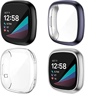 NANW 4-Pack Screen Protector Case Compatible with Fitbit Sense/Versa 3, TPU Rugged Bumper Case Cover All-Around Protective...