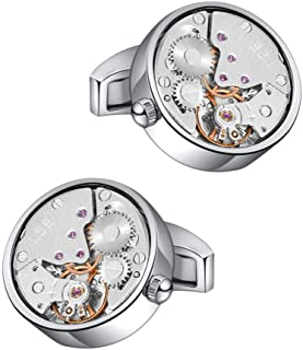 Watch Movement Cufflinks Silver Vintage Steampunk for Men's Father's Day Deluxe Gift