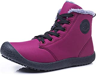 Snow Boots High Top Waterproof Outdoor Fur Lined Winter Warm Shoes Ankle Booties for Men Women