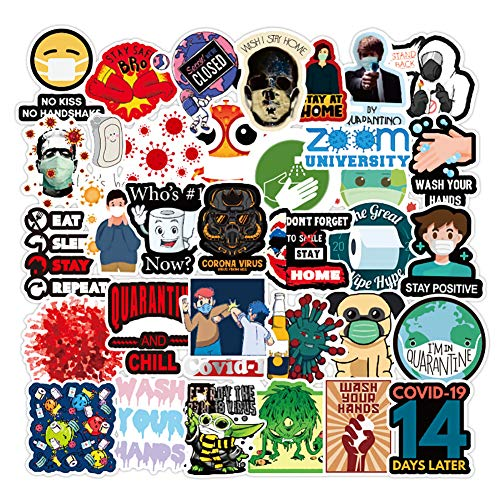 50 Pack Waterproof Removable Virus Stickers Social Distance Quarantine Sticker Decals for Laptop, Luggage, Travel Mug, Tumbler, Car, Bike, Guitar and More