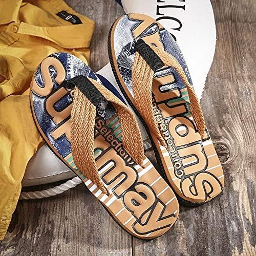 Ririhong Chanclas Moda para Hombre Moda de Todo fósforo Ropa Exterior Antideslizante Zapatillas de Playa de Arena Clip Sandalias de pie-41_Khaki