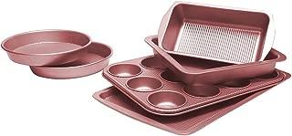 Bakeware Set, TOPTIER 6 Piece Nonstick Baking Pan Sets with Cookie Baking Sheets, Muffin Pan, Loaf Pan, Round Cake Pan, Roasting Pan for Baking, Prime Housewarming and Wedding Gift, Rose Gold