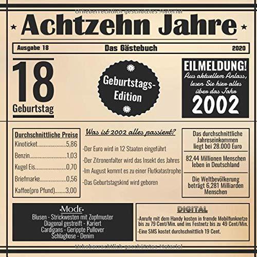Achtzehn Jahre Das Gästebuch: Zum 18 Geburtstag / Geburtsjahr 2002 / Zeitung Design Mit Ereignissen...