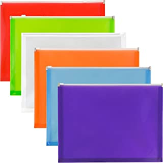 JAM PAPER Plastic Envelopes with Zip Closure - Letter Booklet - 9 3/4 x 13 - Assorted Colors - 6/Pack