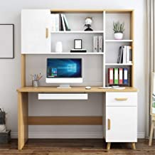 Computer Desk Desktop Home Desk with Bookshelf, Desk Bookcase Combination, Modern Bedroom Student Writing Desk for Living ...