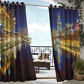 Outdoor Privacy Curtain for Pergola City,Looking Down the Yarra River on a Beautiful Night in Melbourne Water Reflection, Indigo Yellow,W84