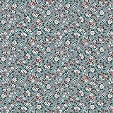 Hans Textil Shop Stoff Meterware Romantik Blumen Baumwolle   1 Meter, Blumen, Blumenwiese, Kleidung, Dirndl, Deko, Bettwäsche (Aqua)